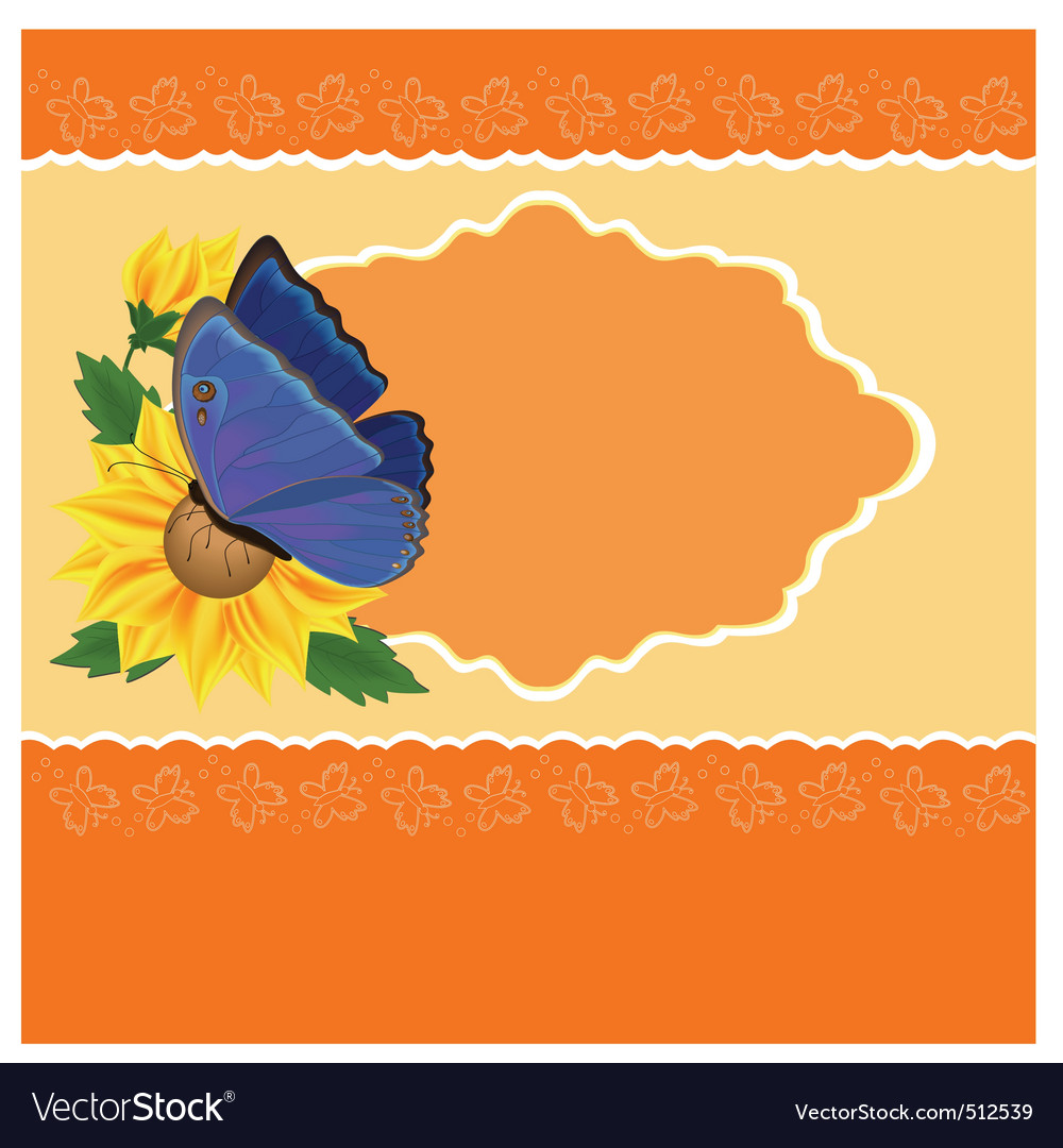 Sunflower and butterfly vector | Price: 1 Credit (USD $1)