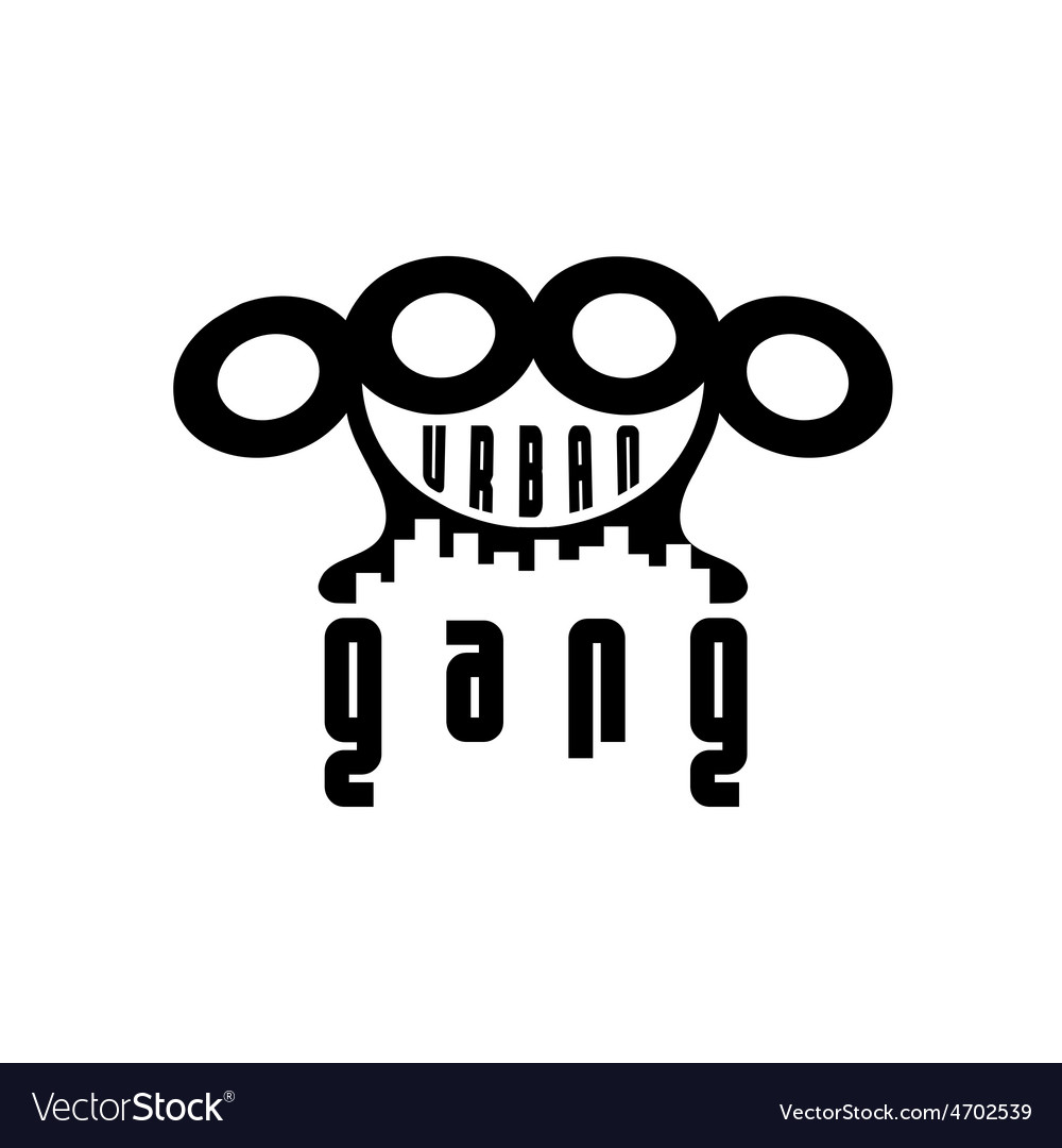 Urban gang emblem with brass knuckles vector | Price: 1 Credit (USD $1)