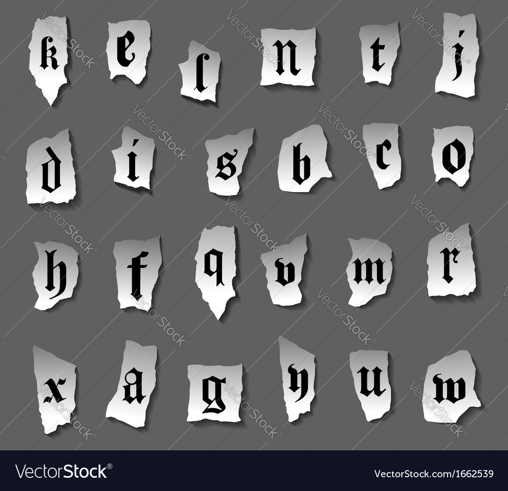 Vintage alphabet letters on turned paper vector | Price: 1 Credit (USD $1)