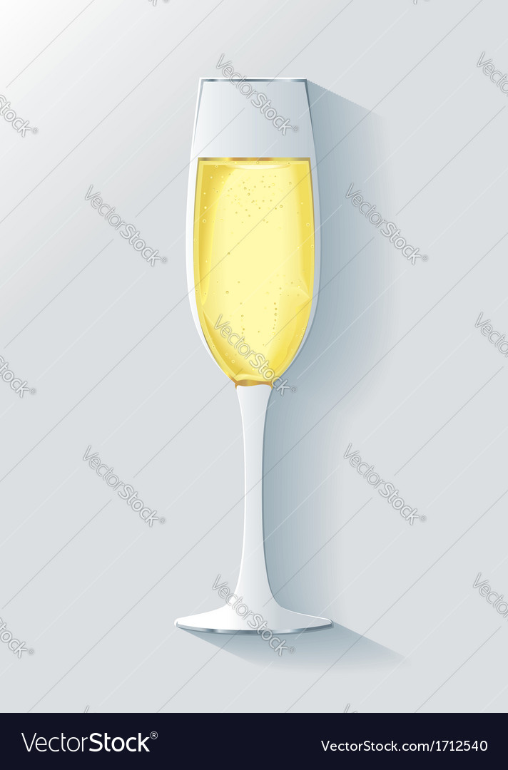 3d realistic champagne glass with bubbles vector | Price: 1 Credit (USD $1)