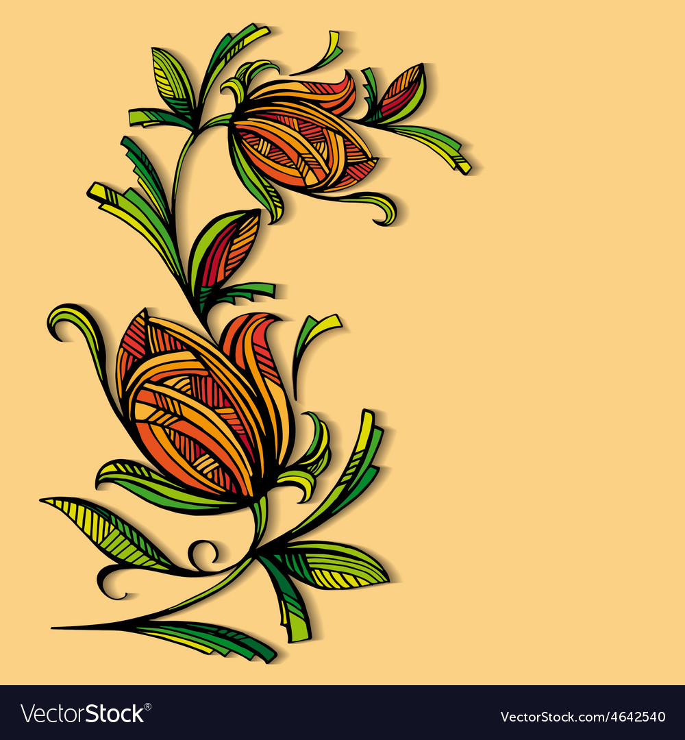 Abstract floral pattern on a warm background vector | Price: 1 Credit (USD $1)