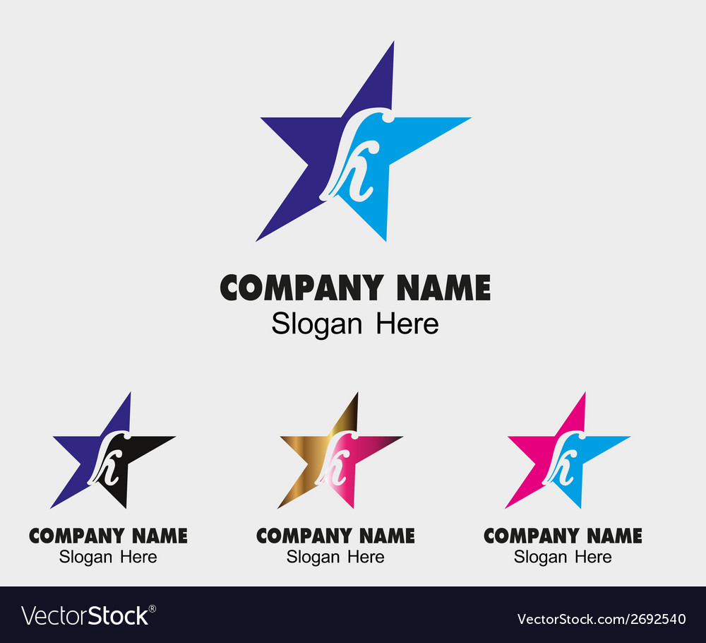 Abstract k letter logo design with star icon vector | Price: 1 Credit (USD $1)