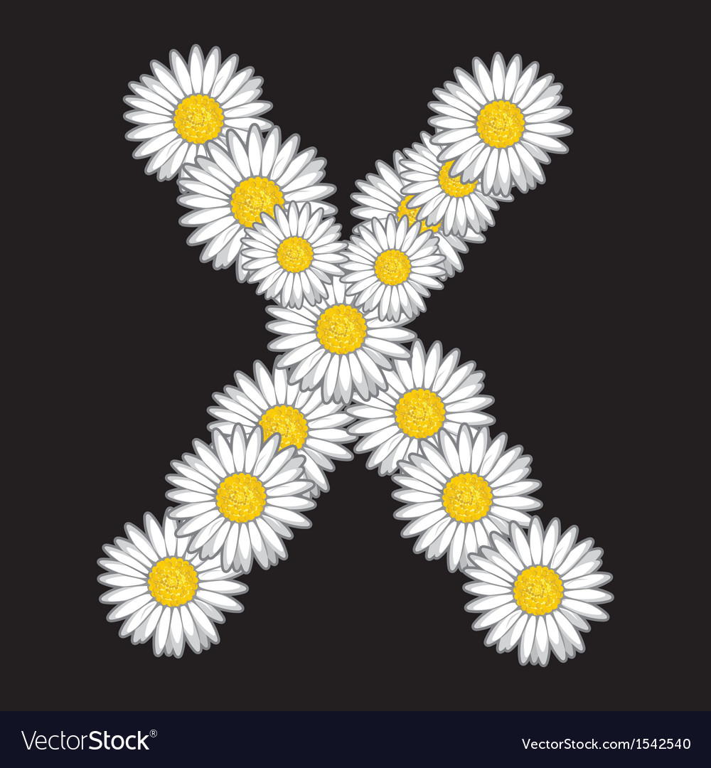 Daisy flower letter vector | Price: 1 Credit (USD $1)