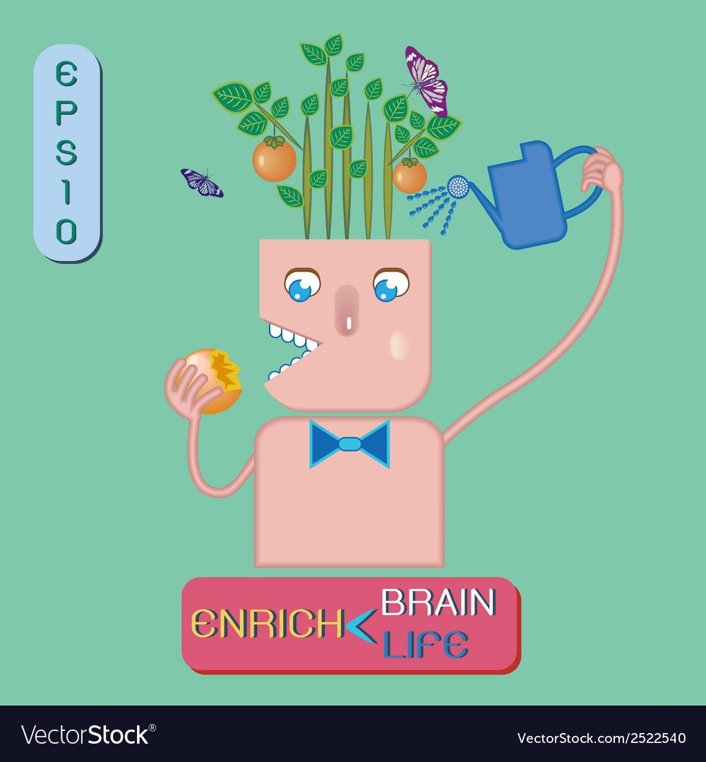 Enrich brain enrich life vector | Price: 1 Credit (USD $1)