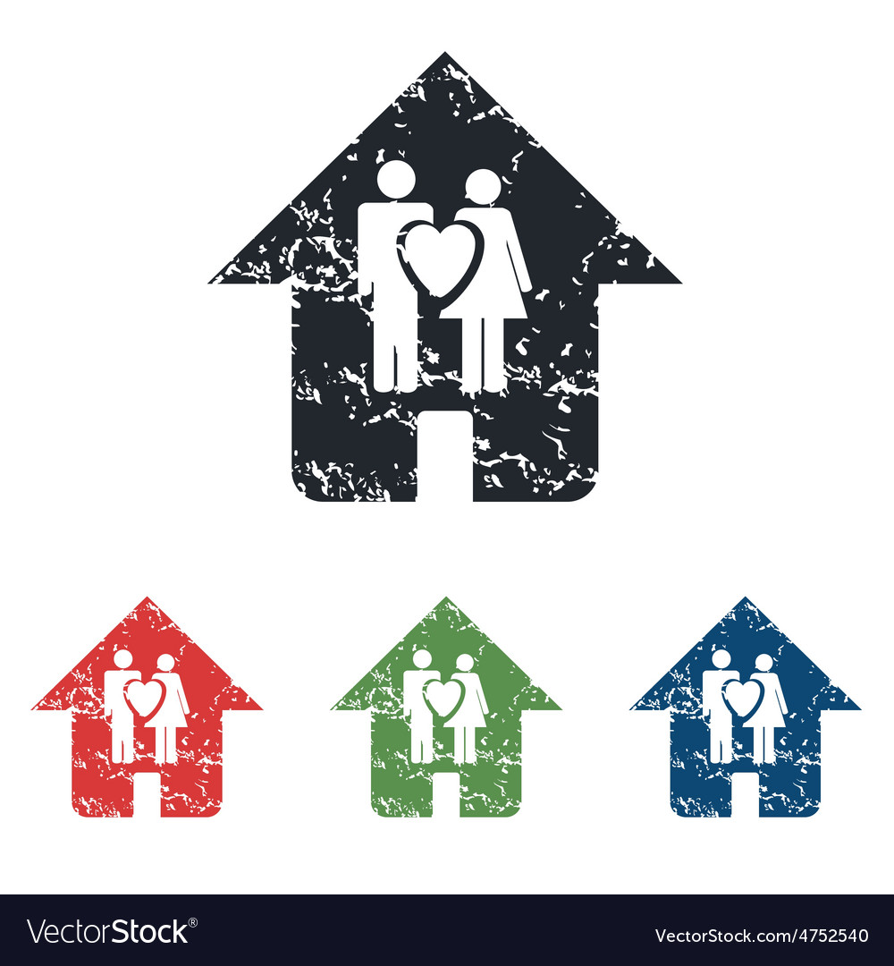 Family house grunge icon set vector | Price: 1 Credit (USD $1)