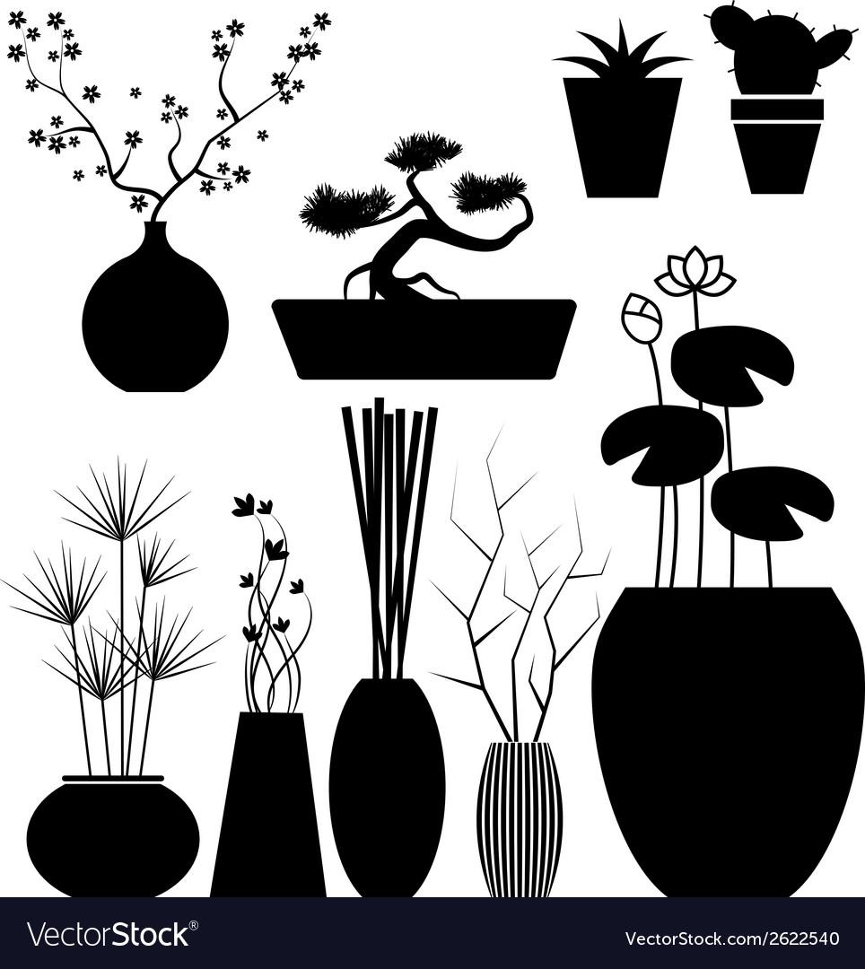 Flowerpot set vector | Price: 1 Credit (USD $1)