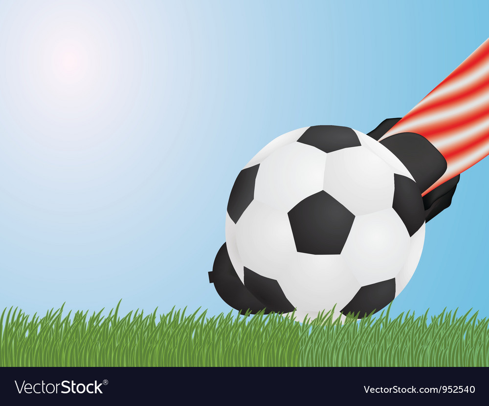 Foot hitting ball vector | Price: 1 Credit (USD $1)