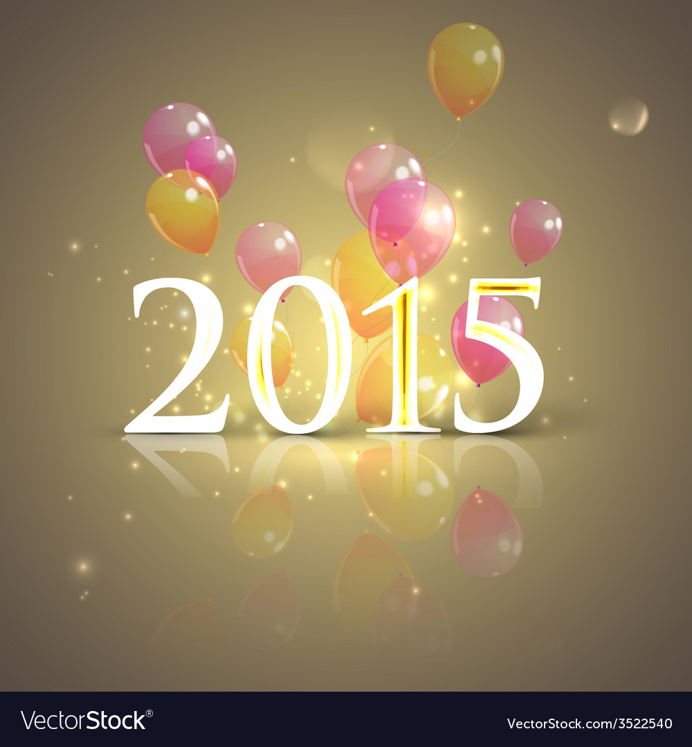 Happy new 2015 year holiday background with flying vector | Price: 1 Credit (USD $1)