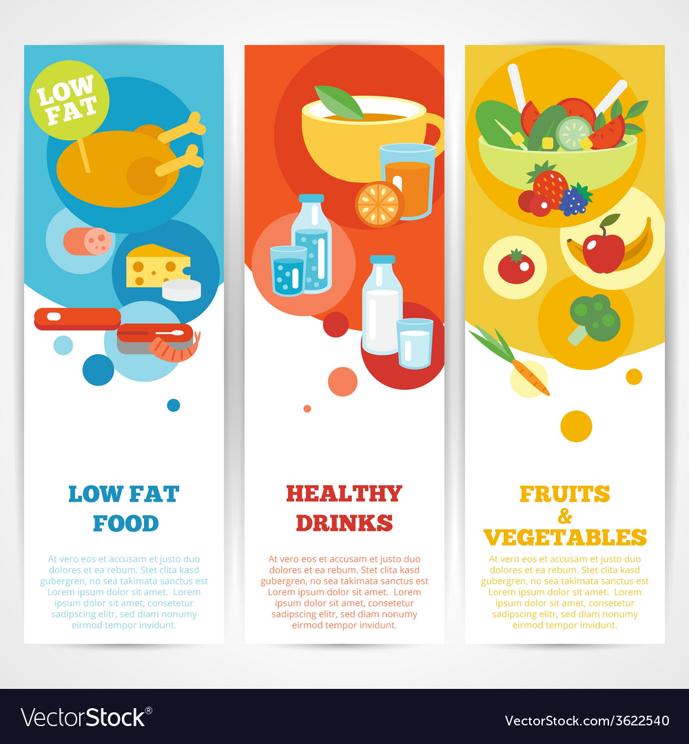 Healthy eating vertical banner set vector | Price: 1 Credit (USD $1)