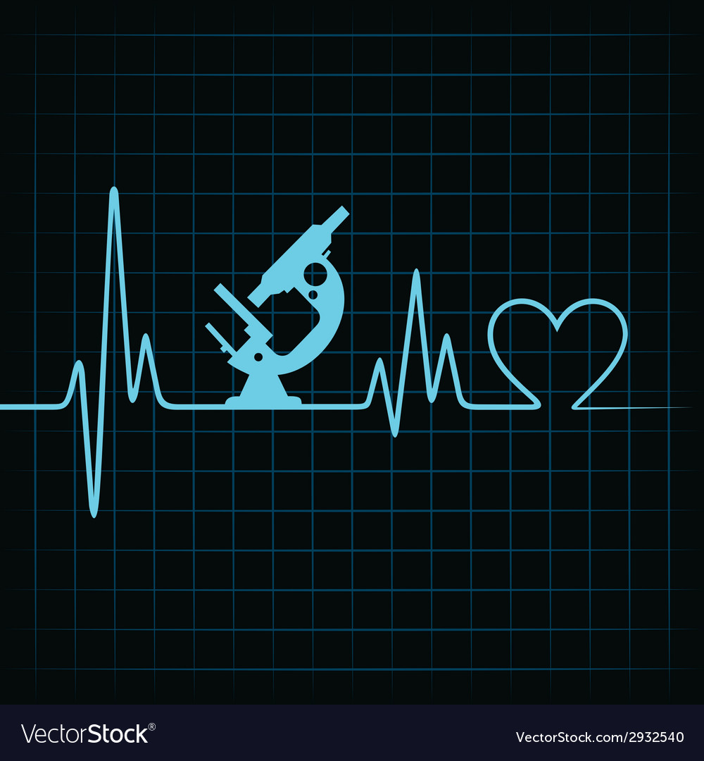 Heartbeat make a microscope and heart symbol vector | Price: 1 Credit (USD $1)
