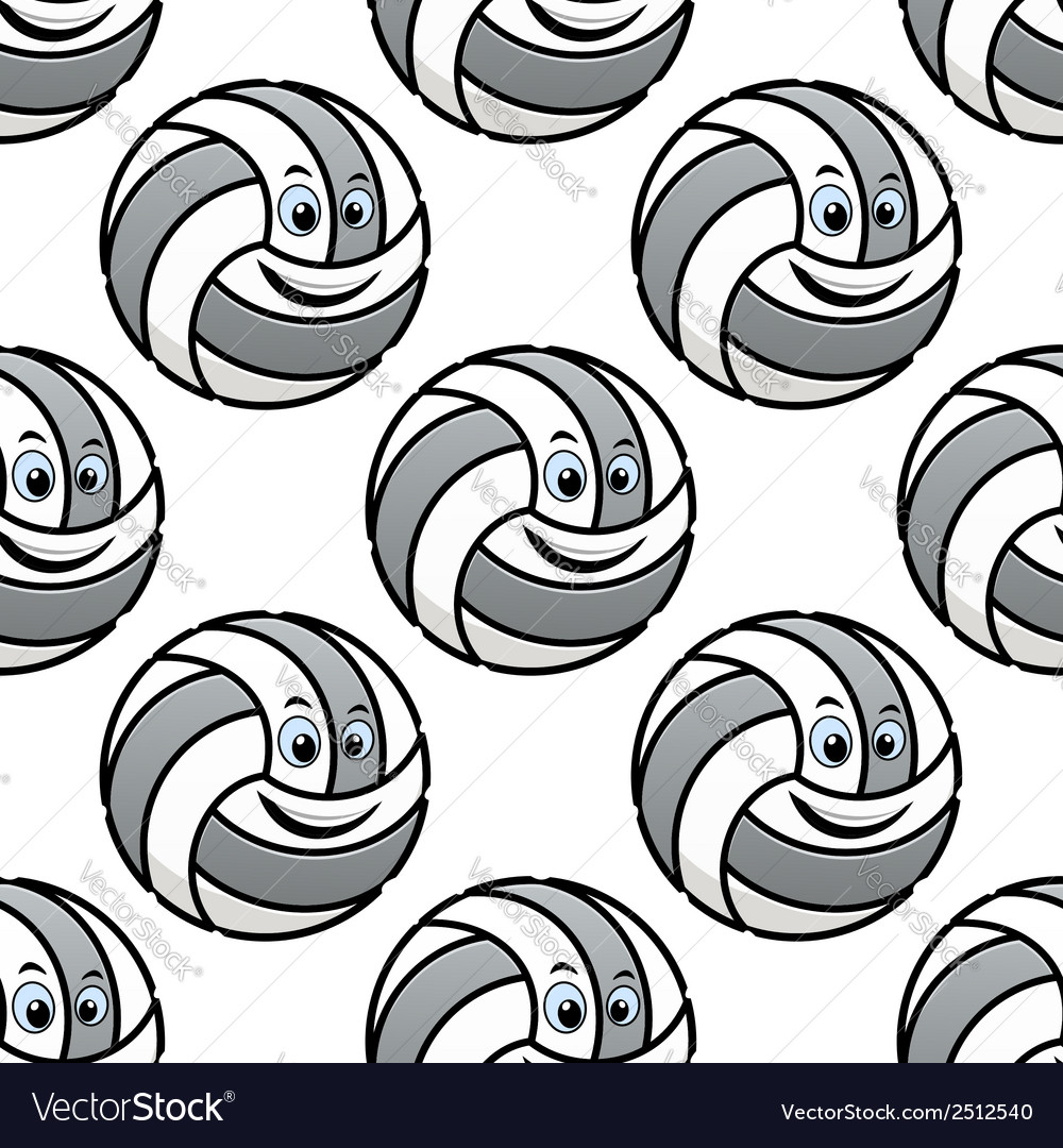 Seamless pattern of cartoon volleyballs vector | Price: 1 Credit (USD $1)