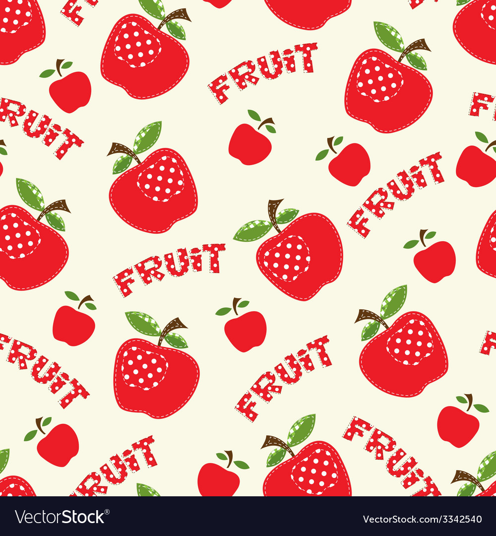 Seamless pattern with red apples vector | Price: 1 Credit (USD $1)