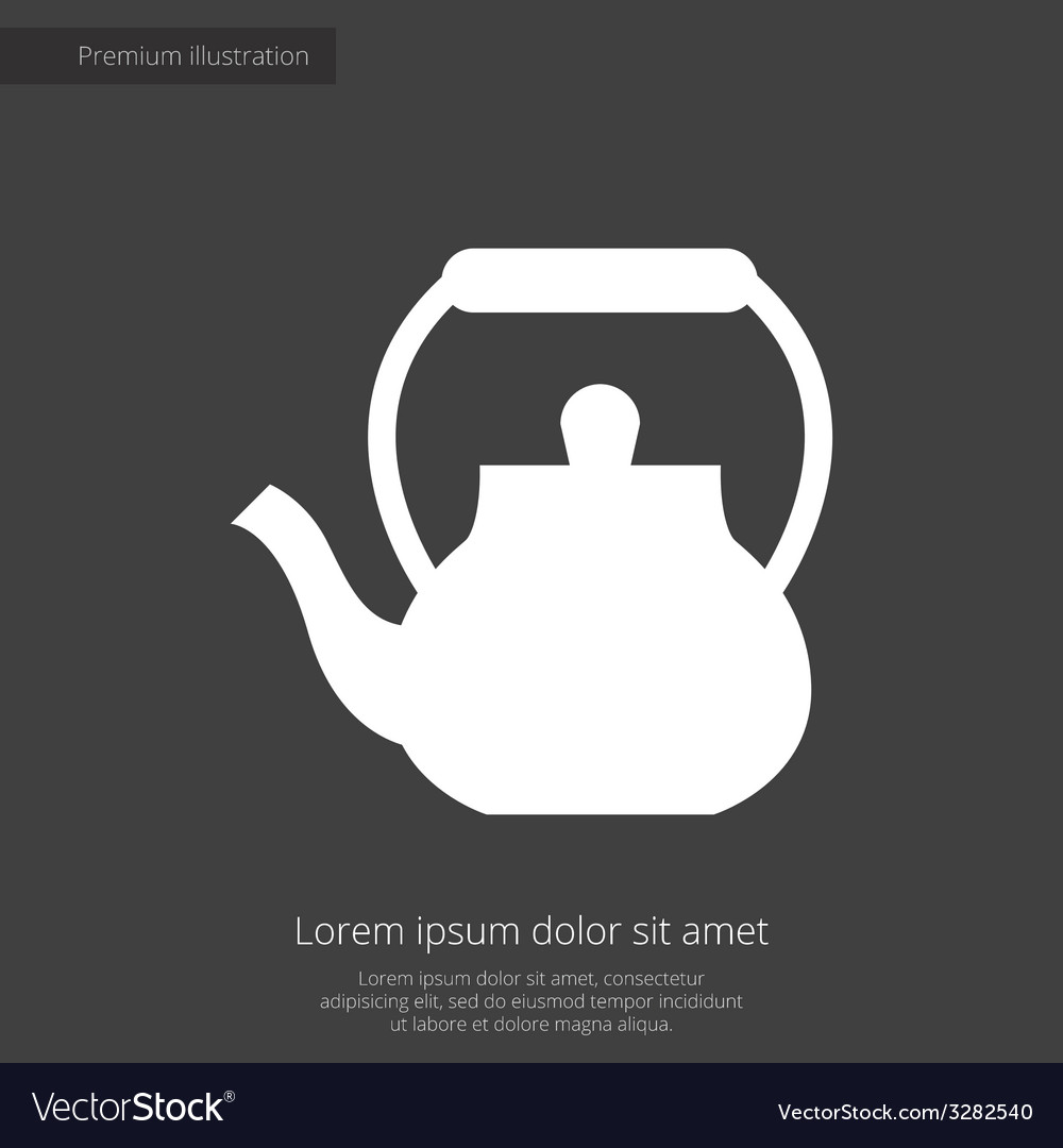 Teapot premium icon white on dark background vector | Price: 1 Credit (USD $1)