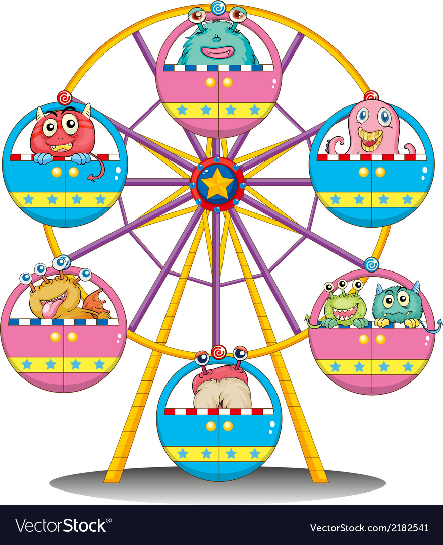 A ferris wheel with monsters vector | Price: 1 Credit (USD $1)
