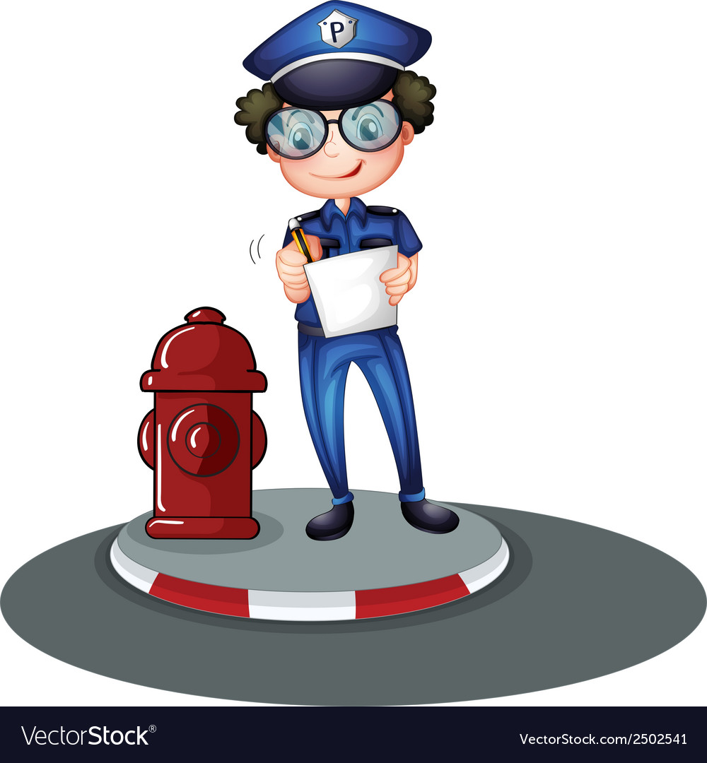 A police officer beside the hydrant vector | Price: 1 Credit (USD $1)