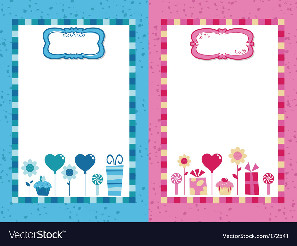 Blue and pink party frames vector | Price: 1 Credit (USD $1)