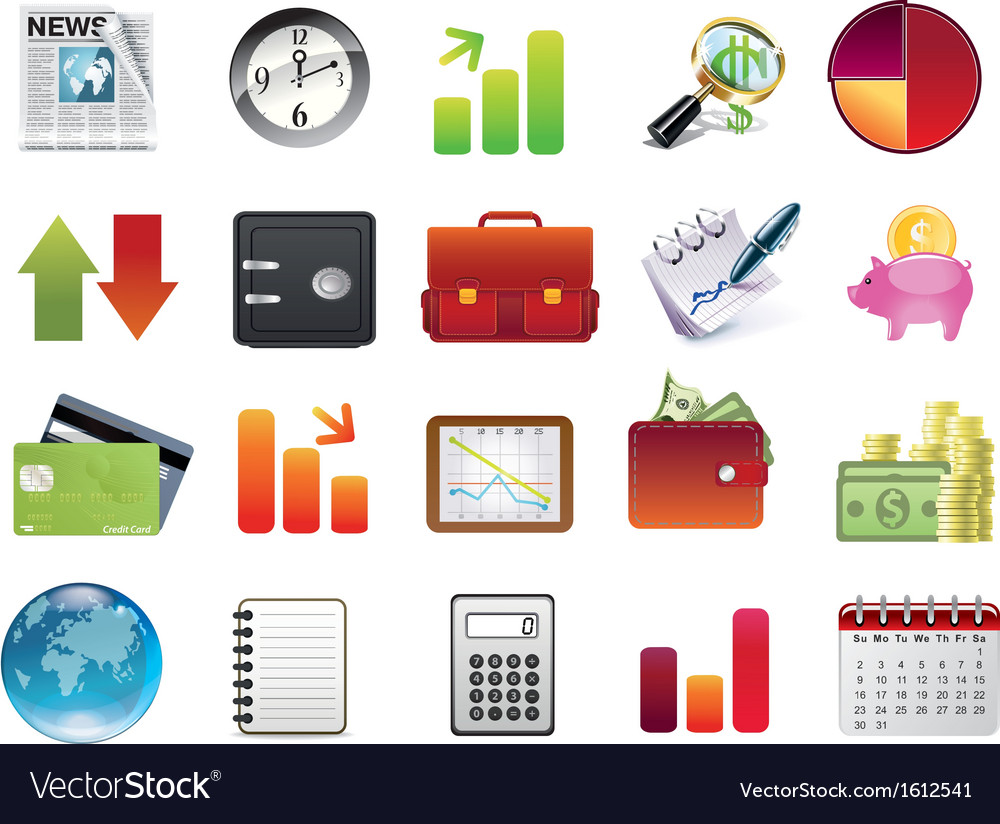 Business and financial icons vector | Price: 1 Credit (USD $1)