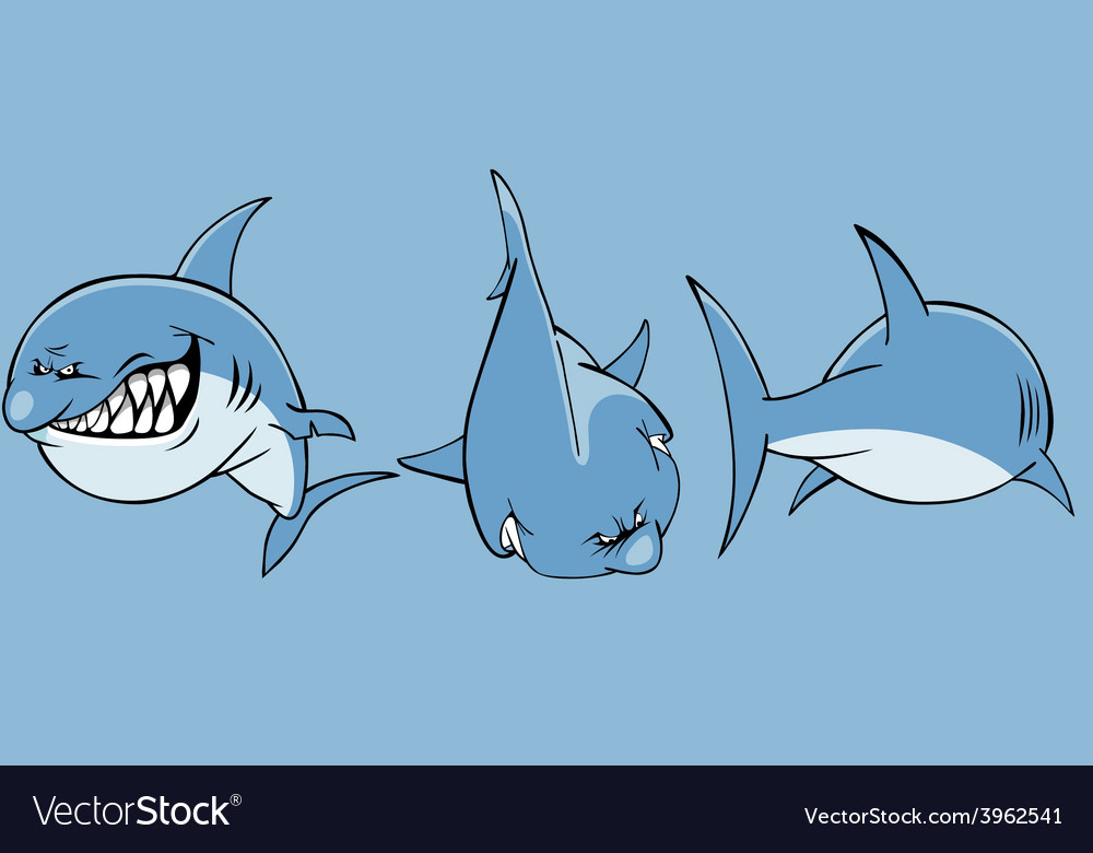 Cartoon angry shark front and rear vector | Price: 3 Credit (USD $3)