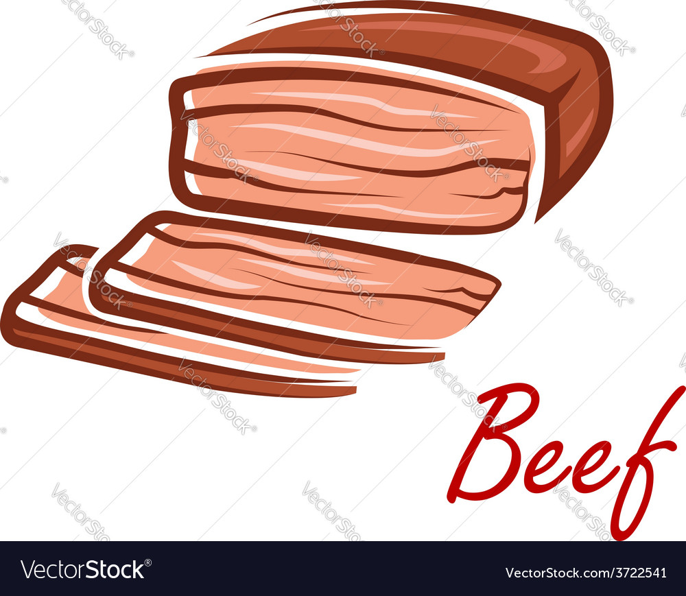 Cartoon roast beef in retro style vector | Price: 1 Credit (USD $1)