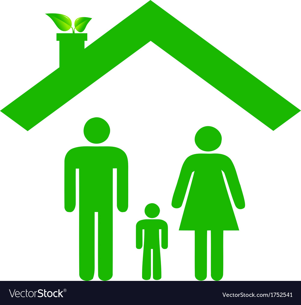Family in ecologic house vector | Price: 1 Credit (USD $1)