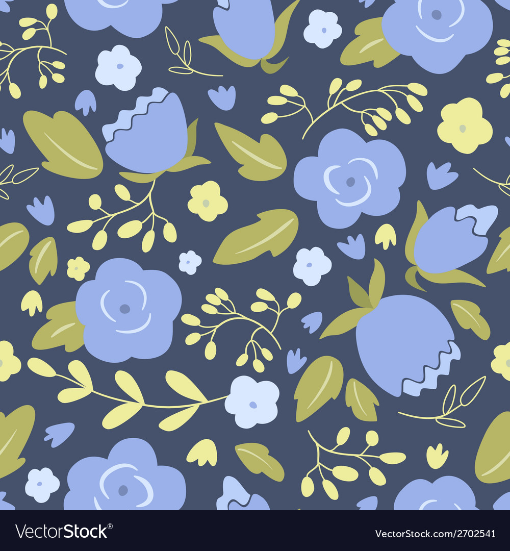 Floral seamless pattern with blue roses vector | Price: 1 Credit (USD $1)
