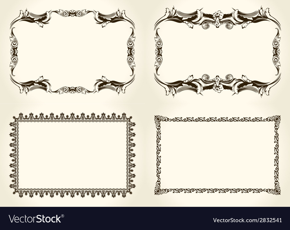 Frameworks set ornate and vintage design elements vector | Price: 1 Credit (USD $1)