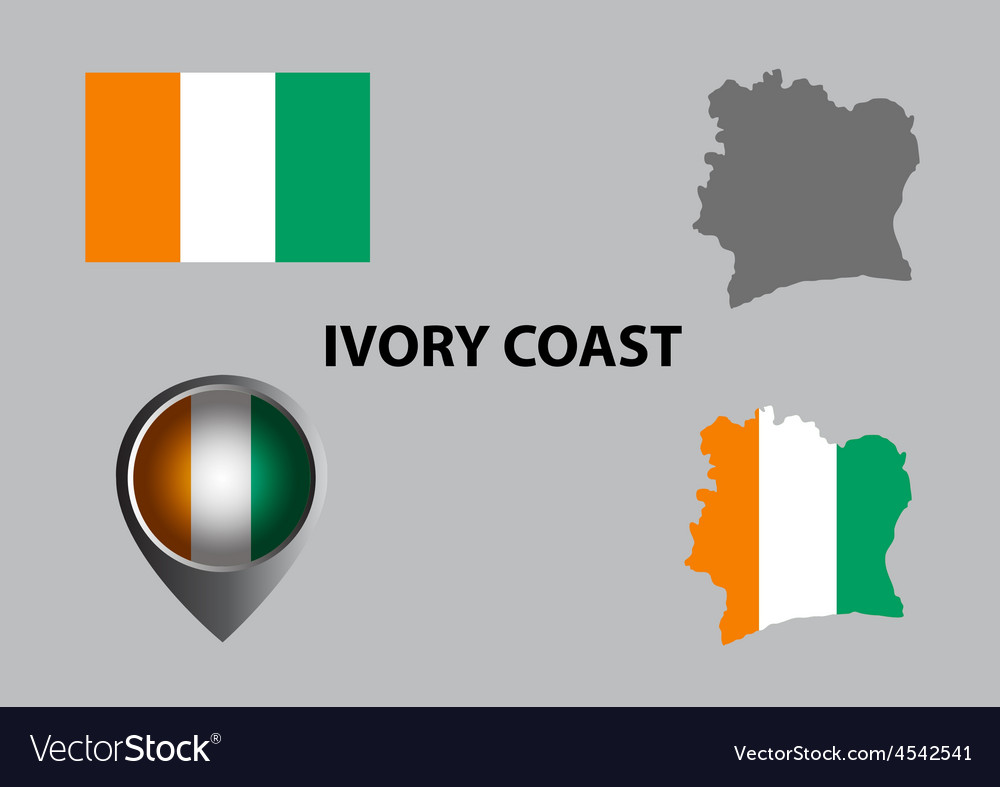Map of ivory coast and symbol vector | Price: 1 Credit (USD $1)