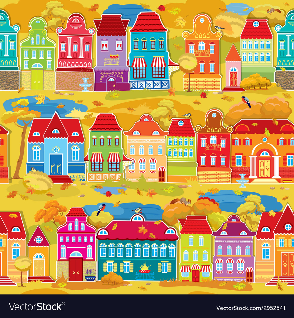 Seamless pattern with decorative colorful houses vector | Price: 1 Credit (USD $1)