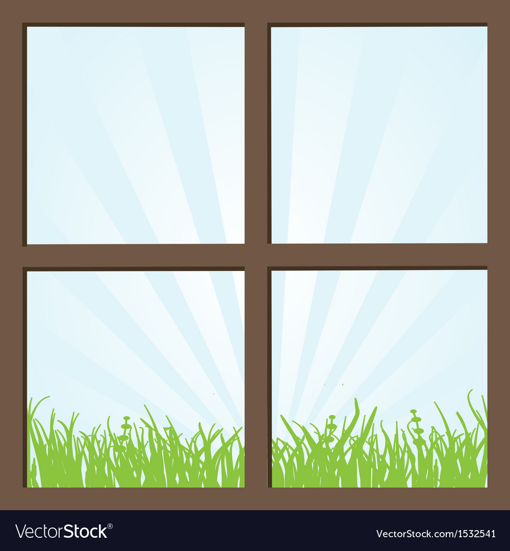 Summer field and mountains seen through the window vector | Price: 1 Credit (USD $1)