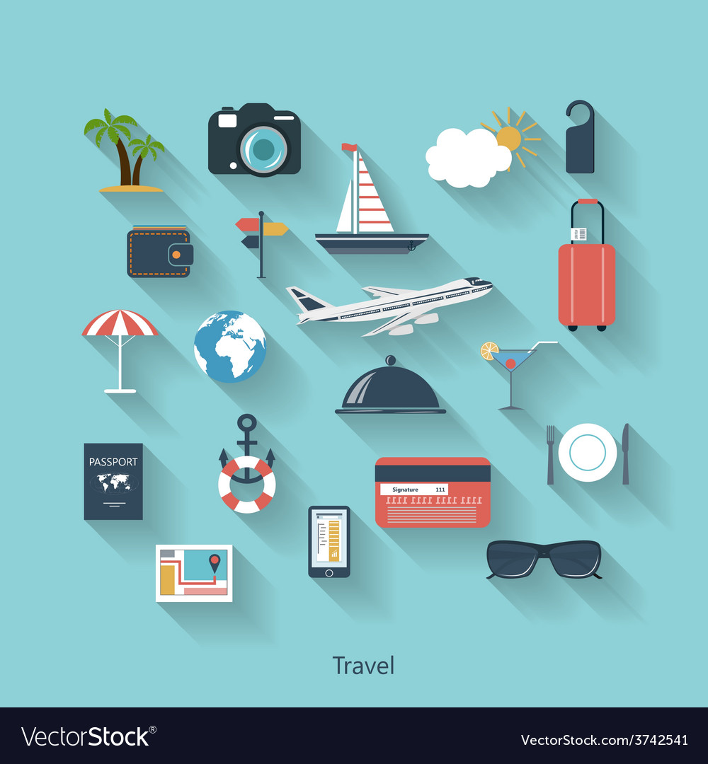 Travel and tourism modern concept in flat design vector | Price: 1 Credit (USD $1)