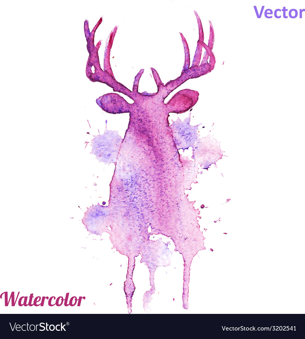 Watercolor deer head on the white background vector | Price: 1 Credit (USD $1)