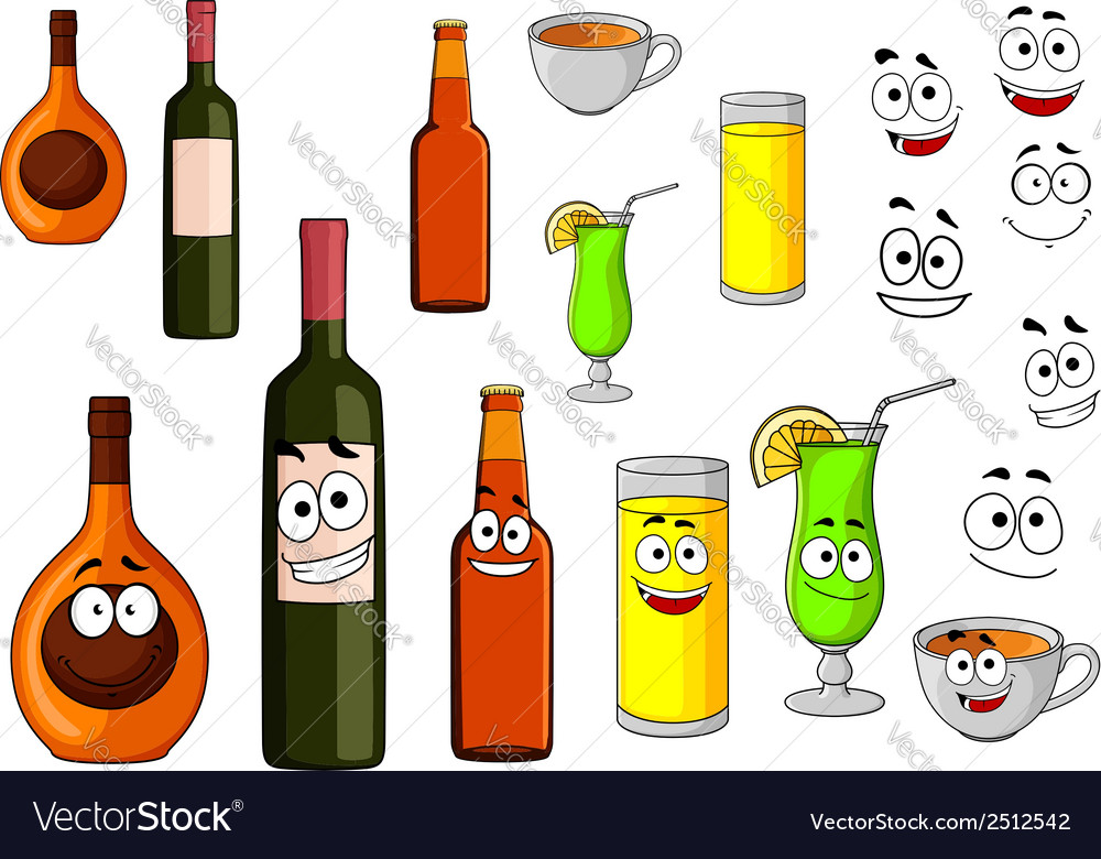 Beverage icons in cartoon style vector | Price: 1 Credit (USD $1)