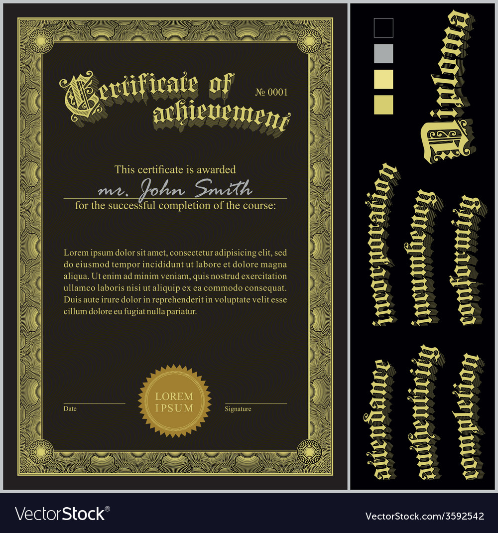 Black and gold certificate template vertical vector | Price: 1 Credit (USD $1)