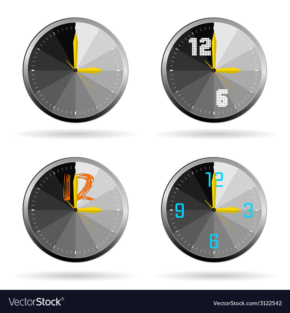 Clock set color vector | Price: 1 Credit (USD $1)