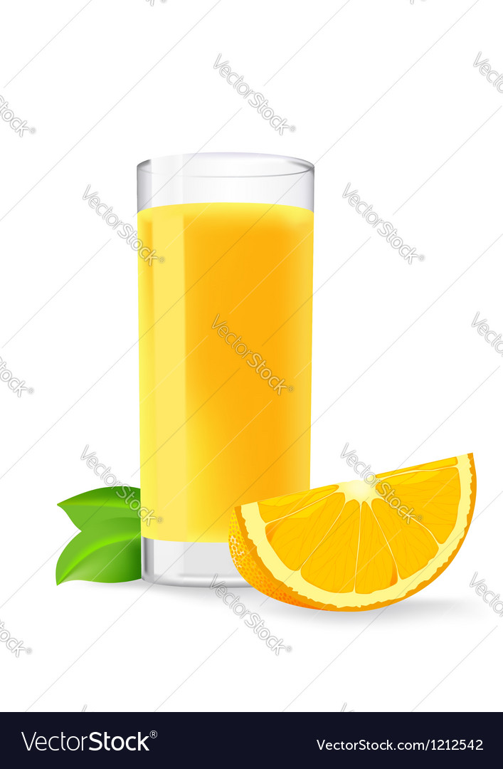 Glass of orange juice and a slice of orange vector | Price: 1 Credit (USD $1)