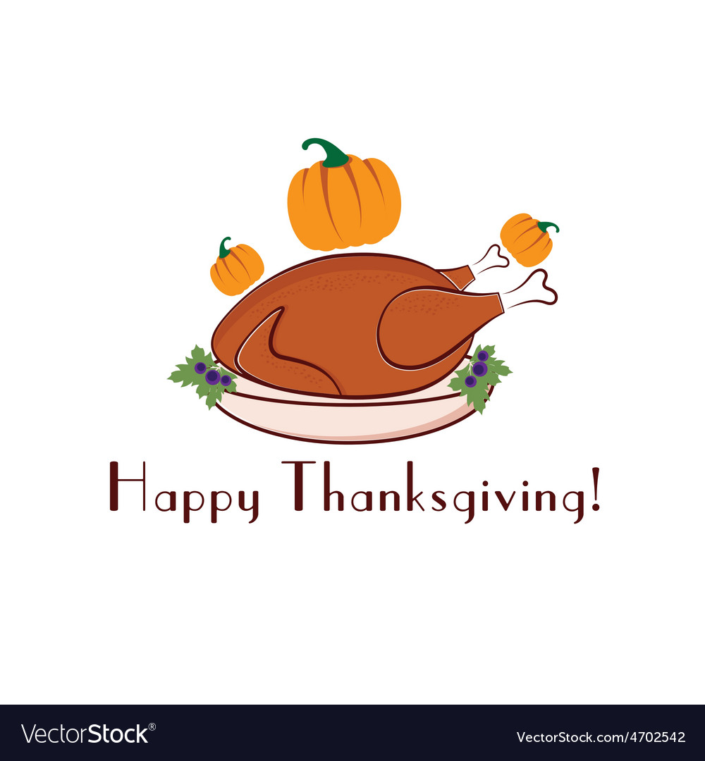 Happy thanksgiving with turkey and pumpkins vector   Price: 1 Credit (USD $1)