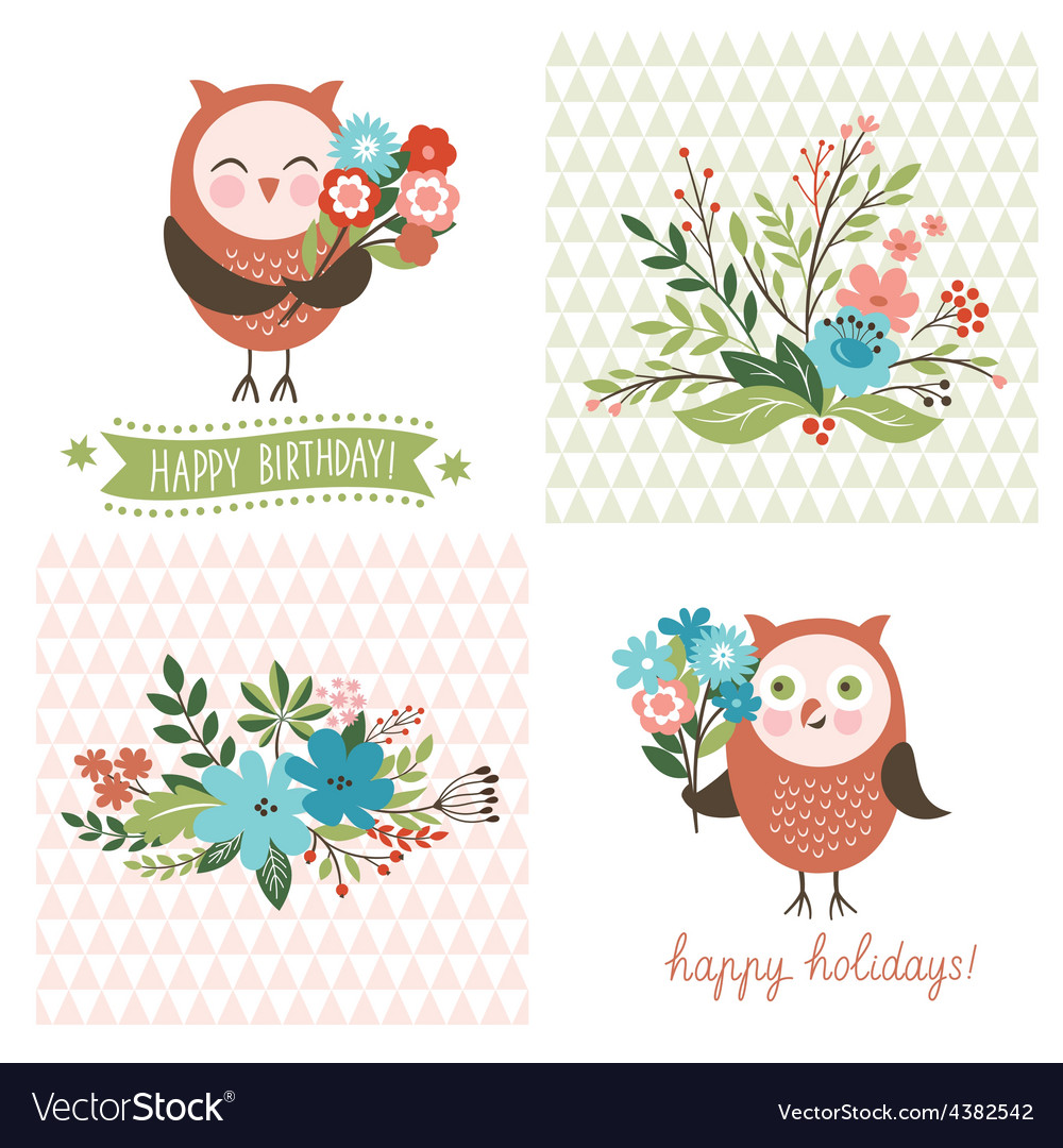Holiday clip art cute owls vector | Price: 1 Credit (USD $1)