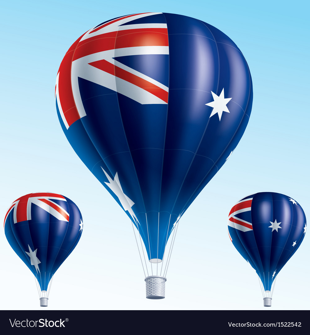 Hot balloons painted as australian flag vector | Price: 3 Credit (USD $3)