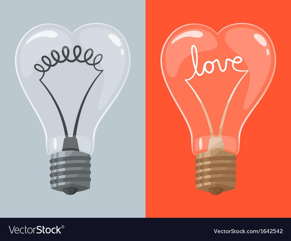 Love lightbulb in shape of heart vector | Price: 1 Credit (USD $1)