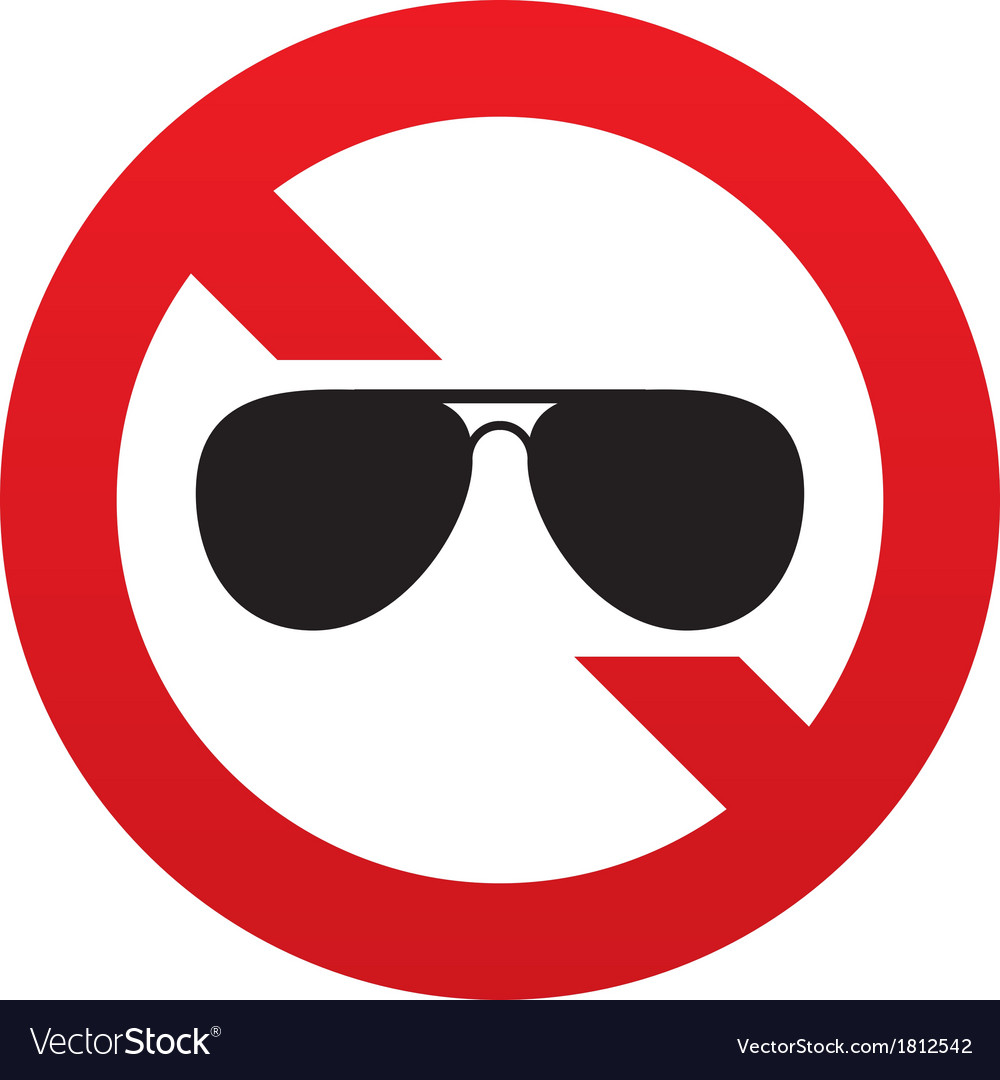 No aviator sunglasses sign pilot glasses button vector | Price: 1 Credit (USD $1)