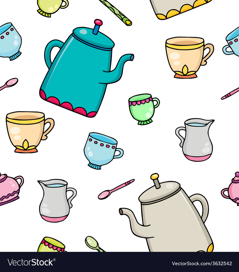 Pattern with tea supplies vector | Price: 1 Credit (USD $1)