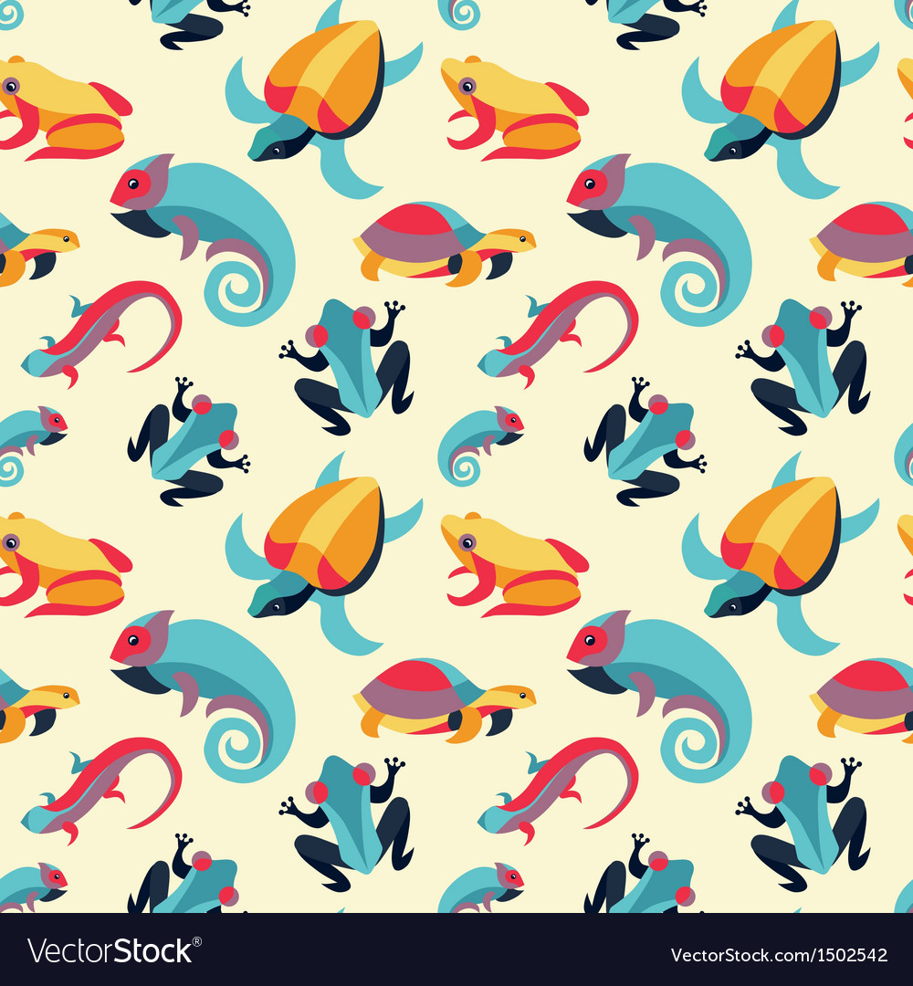 Seamless pattern with frogs and reptiles vector | Price: 3 Credit (USD $3)