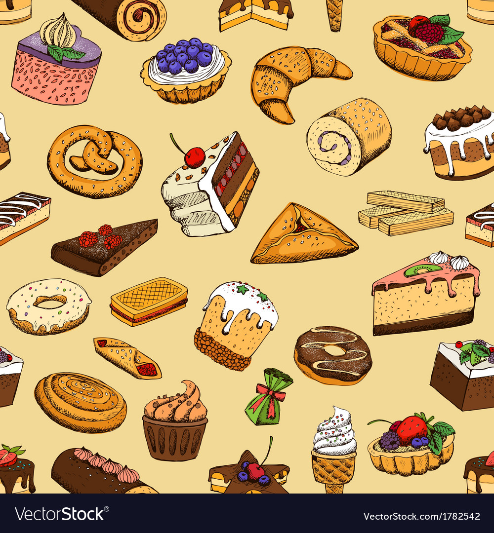 Seamless sweet pastries vector | Price: 1 Credit (USD $1)