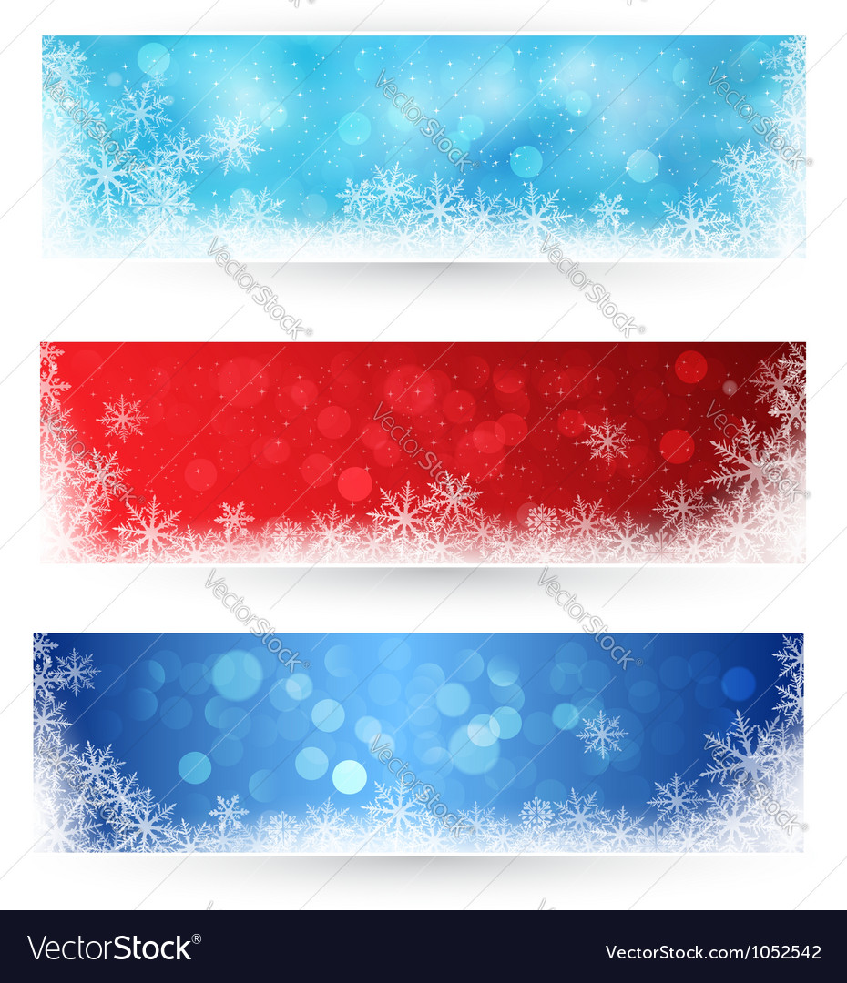 Set of winter christmas banners vector | Price: 1 Credit (USD $1)