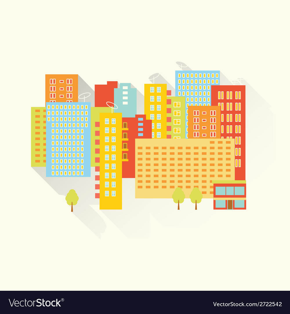 Sunny summer city vector | Price: 1 Credit (USD $1)