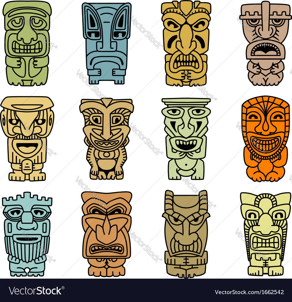 Tribal masks of idols and demons vector | Price: 1 Credit (USD $1)