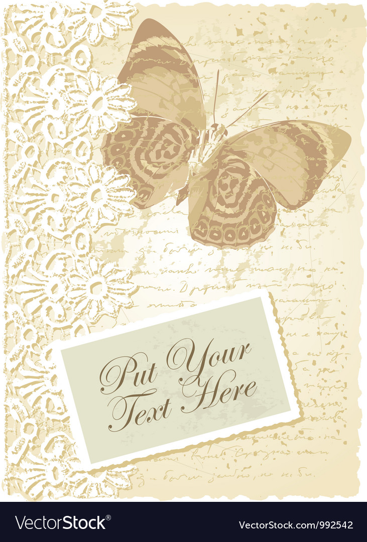 Vintage butterfly card vector | Price: 1 Credit (USD $1)