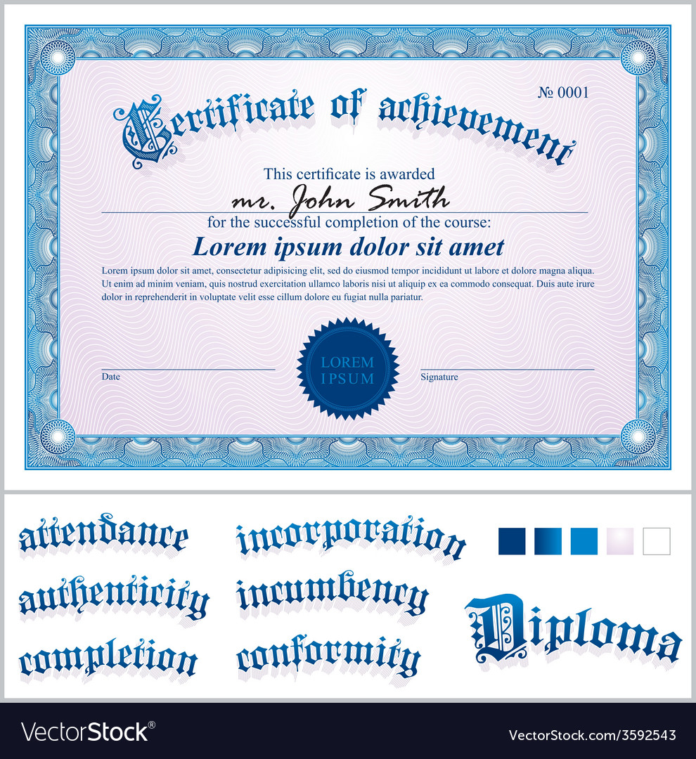 Blue certificate template horizontal vector | Price: 1 Credit (USD $1)