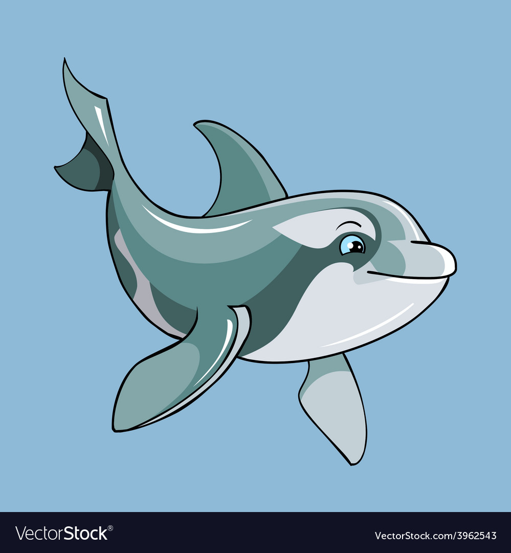 Cartoon cute dolphin vector | Price: 3 Credit (USD $3)