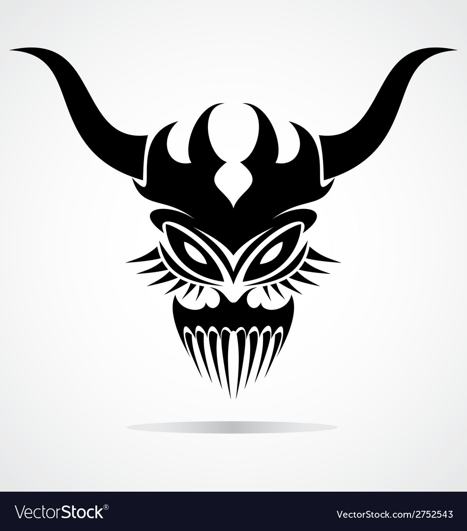 Demon mask tattoo vector | Price: 1 Credit (USD $1)